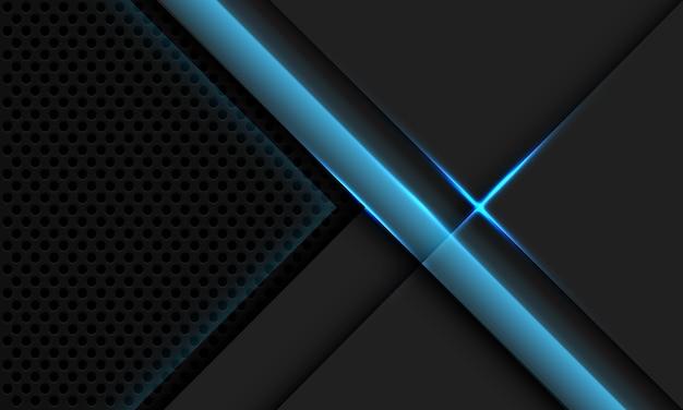 Diseño de malla de círculo de luz azul de superposición metálica gris abstracta tecnología futurista de lujo moderno