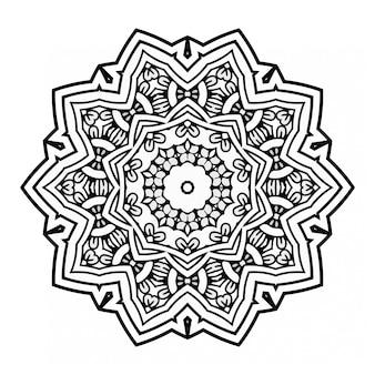 Diseño de mandala en blanco y negro con adorno