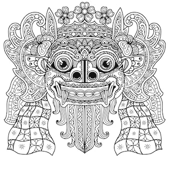 Diseño de mandala para colorear libro balinés barong