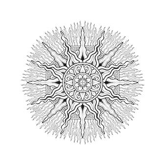 Diseño de mandala para colorear página adulto