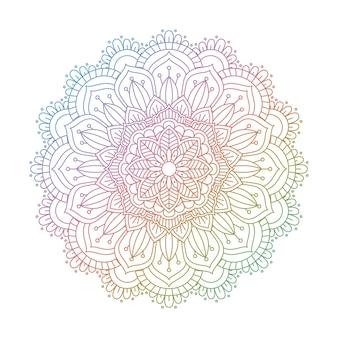 Diseño de mandala decorativo en colores del arco iris.