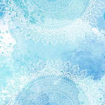 Diseño de mandala decorativo sobre una textura de acuarela