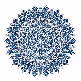 Diseño de mandala detallado azul aislado