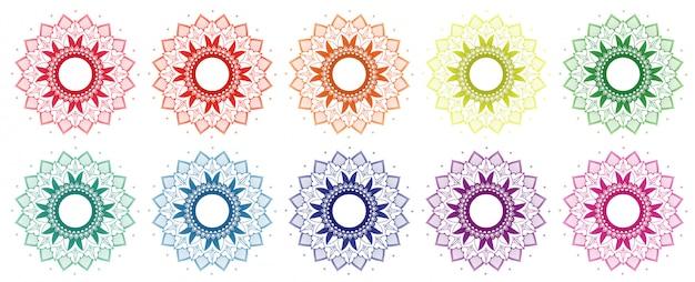 Diseño de mandala en diferentes colores.