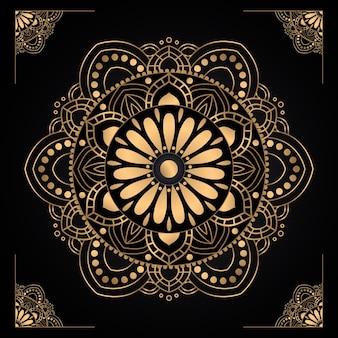 Diseño de mandala dorado degradado