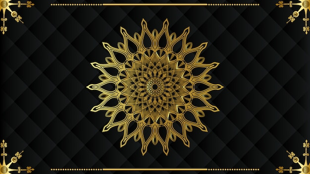 Diseño de mandala dorado de lujo moderno con fondo negro