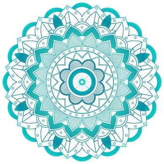 Diseño de mandala de flor verde