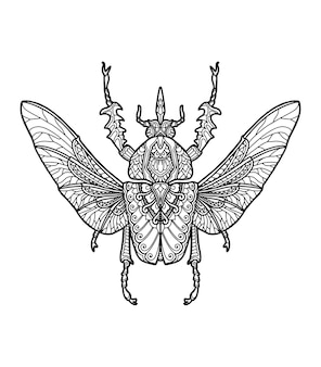 Diseño de mandala de insectos para colorear diseño de libro o camiseta
