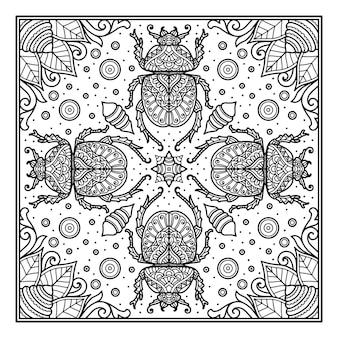 Diseño de mandala de insectos para impresión de diseño de bandana o camiseta