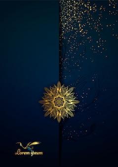 Diseño de mandala ornamental de lujo en color dorado.