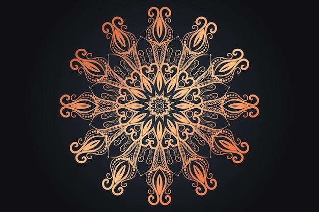 Diseño de mandala ornamental de lujo de color dorado