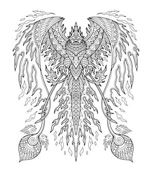 Diseño de mandala de phoenix para colorear diseño de libro o camiseta