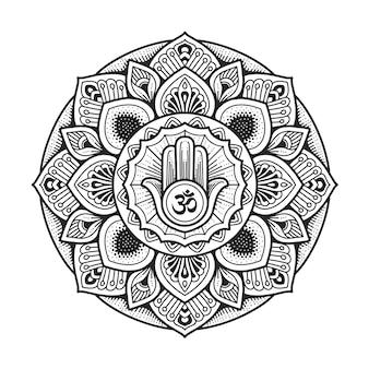 Diseño de mandala. símbolo de hamsa