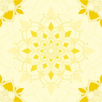 Diseño de mandala sobre fondo amarillo