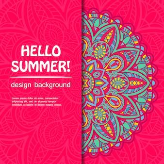 Diseño de mandala de verano. origen étnico.