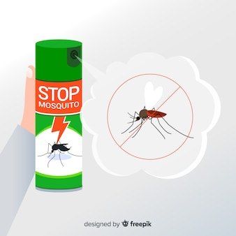Diseño de mano sujetando spray de mosquitos