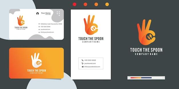 Diseño a mano con vajilla para restaurantes y cafeterías y tarjetas de visita.