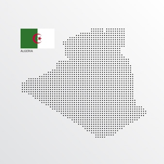 Diseño de mapa de argelia con bandera y vector de fondo claro