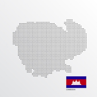 Diseño de mapa de camboya con bandera y vector de fondo claro
