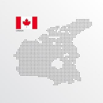 Diseño de mapa de canadá con bandera y vector de fondo claro