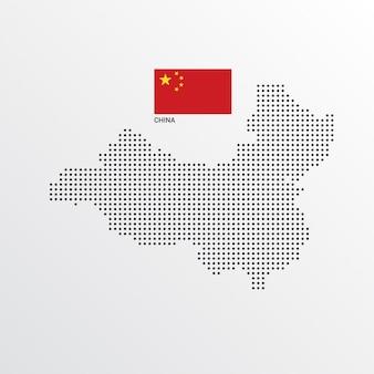 Diseño de mapa de china con bandera y vector de fondo claro