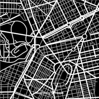 Diseño de mapa de la ciudad en blanco y negro