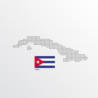 Diseño de mapa de cuba con bandera y vector de fondo claro