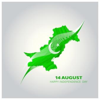 Diseño de mapa para el día de la independencia de pakistán