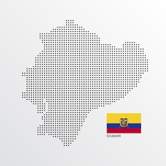 Diseño de mapa de ecuador con bandera y vector de fondo claro