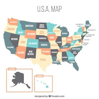Diseño de mapa de estados unidos con colores pastel