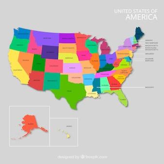 Diseño de mapa de estados unidos con colores vivos Vector Premium