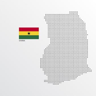 Diseño de mapa de ghana con bandera y vector de fondo claro
