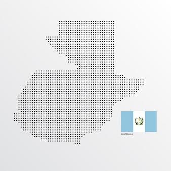 Diseño de mapa de guatemala con bandera y vector de fondo claro