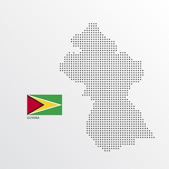Diseño de mapa de guyana con bandera y vector de fondo claro