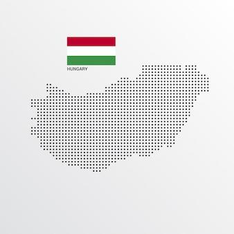 Diseño de mapa de hungría con bandera y vector de fondo claro
