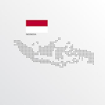 Diseño de mapa de indonesia con bandera y vector de fondo claro