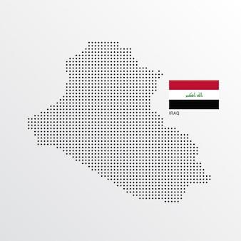 Diseño de mapa de iraq con bandera y vector de fondo claro