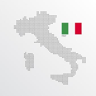Diseño de mapa de italia con bandera y vector de fondo claro