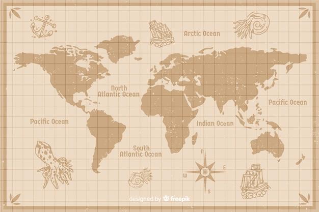 Diseño de mapa del mundo de cartografía wintage