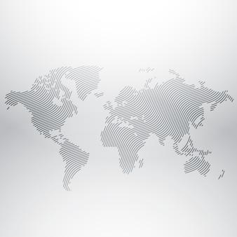 Diseño del mapa del mundo en patrón creativo ondulado