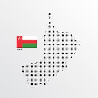 Diseño de mapa de omán con bandera y vector de fondo claro