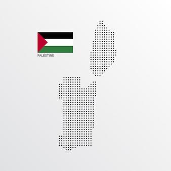 Diseño de mapa de palestina con bandera y vector de fondo claro