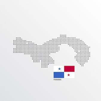 Diseño de mapa de panamá con bandera y vector de fondo claro