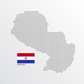 Diseño de mapa de paraguay con bandera y vector de fondo claro