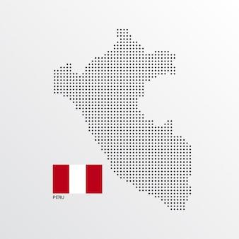 Diseño de mapa de perú con bandera y vector de fondo claro
