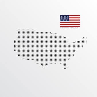 Diseño del mapa del sur de los estados unidos de américa
