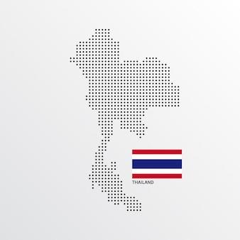 Diseño de mapa de tailandia con bandera y vector de fondo claro