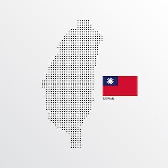 Diseño de mapa de taiwán con bandera y vector de fondo claro