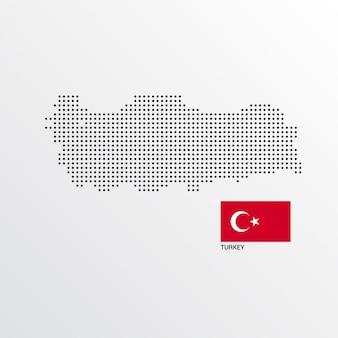 Diseño de mapa de turquía con bandera y vector de fondo claro