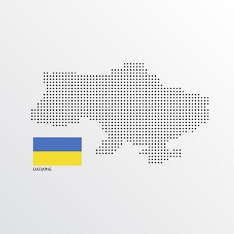 Diseño de mapa de ucrania con bandera y vector de fondo claro
